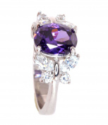 Sterling Silver Simulated Amethyst and Simulated Diamond Ring-