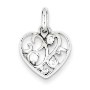 925 Sterling Silver Rhodium-plated Polished CZ Heart Pendant Charm