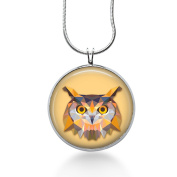 Owl Pendant Necklace - Watercolours Jewellery - Unique Round Silver Plated
