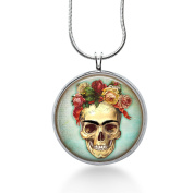 Skull with Roses Necklace - Steampunk, Rocker, Valentines Day Jewellery - Handmade