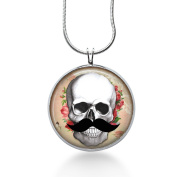 Skull with Roses Necklace - Steampunk, Rocker, Moustache, Valentines Day Jewellery - Handmade
