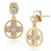 Diamante Flower with Circle Dangle Earrings by Lovey Lovey