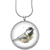Bird Jewellery, Birds Pendant, Nature Necklace, Silver Plated Round Pendant