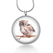 OWL Pendant- Hand Drawn Art Necklace - Owl Jewellery ,Gift for Her