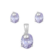 925 Sterling Silver Oval Simulated Light Amethyst Cubic Zirconia Earrings Necklace Set