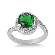 925 Sterling Silver Cubic Zirconia Round Centre Simulated Emerald Ring 11MM