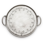 Arte Italica Vintage Round Tray with Handles, Pewter