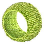 SARO LIFESTYLE NR283.LM Beaded Napkin Rings (4 Pack), Lime