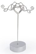Displays2go Wedding Reception Place Card Holders in Lovebirds Embracing Heart, 12cm , Set of 25