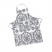 LinenTablecloth Black on White Damask Chef Apron