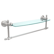 Allied Brass RW-33TB/18-SCH Retro Wave Collection 46cm Glass Vanity Shelf with Integrated Towel Bar, Satin Chrome