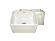 Whitehaus WHFLCON2018 50cm Reversible Series Fireclay Sink with Concave Front Apron One Side andFluted Front Apron on Other