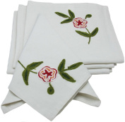 Manor Luxe Crewel Embroidered Floral Napkins, 50cm by 50cm , Red, Set of 4