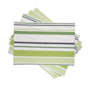 LinenTablecloth Green Barcode-Striped Placemats, 4-Pack