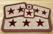 Earth Rugs 86-357BS Burgundy Stars Design Rectangle Wicker Weave Placemat, 33cm by 48cm