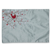 Pillow Perfect Holiday Cardinal on Snowy Branch Placemat, Set of 2