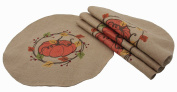Manor Luxe Rustic Pumpkin Wreath Fall Round Placemats (Set of 4), 41cm