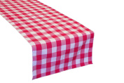 LA Linen Poly Chequered Table Runner, 36cm by 270cm , Fuchsia/White