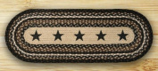 Earth Rugs 68-313 Oval Table Runner, 33cm by 90cm , Black Stars