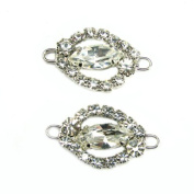 Mode Beads Rhinestone Navette Frame and Stone Connector, 3cm by 1.9cm , Crystal/Silver