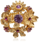 Blue Moon Beads ZJ-002-00045 Jewellery Flower Bouquet Ring with Purple Rhinestones, Gold