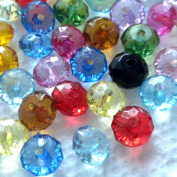 Beading Station 150-Piece 30ml Faceted Acrylic Crystal Rondelle Beads, 8 by 6mm