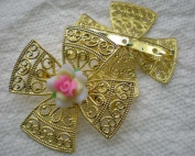 Beading Station 2-Piece Filigree 4-Leaf Large Brooch, 50mm, Shiny Gold