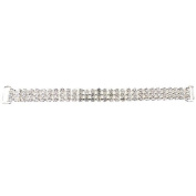 Mode Beads 3-Row 17cm Rhinestone Connector, Long, Crystal/Silver