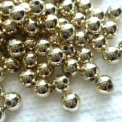 Beading Station 220-Piece 30ml Pale Acrylic Spacer Round Beads, 6mm, Gold