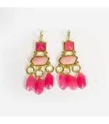 Blue Moon Beads ZJ-002-00009 Jewellery Chandelier Earrings, Gold/Pink