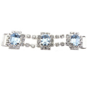 Mode Beads Rhinestone Connector Octagon Chain, 9.5cm , Light Sapphire, Crystal/Silver