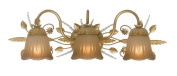 Crystorama Lighting 4743-GL Primrose 3LT Vanity Fixture, Gold Leaf Finish with Tea Stained Glass Shades and Spectra Crystal Accents
