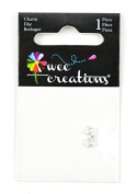 Wee Creations 1-Piece Bow Charm, Silver/White