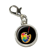 Graphics and More Painters Palette Black Artist Painting Antiqued Bracelet Pendant Zipper Pull Charm with Lobster Clasp