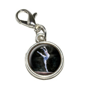 Graphics and More Gymnist Blue Gymnastic Vault Pommel Horse Antiqued Bracelet Pendant Zipper Pull Charm with Lobster Clasp