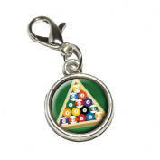 Graphics and More Billiard Balls And Triangle Pool Table Antiqued Bracelet Pendant Zipper Pull Charm with Lobster Clasp