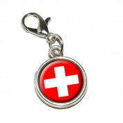 Graphics and More Switzerland Swiss Flag Antiqued Bracelet Pendant Zipper Pull Charm with Lobster Clasp