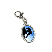 Graphics and More Mountain Rock Wall Climbing Antiqued Bracelet Pendant Zipper Pull Oval Charm with Lobster Clasp