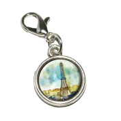 Graphics and More Watercolour Paris Eiffel Tower France Antiqued Bracelet Pendant Zipper Pull Charm with Lobster Clasp