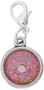Graphics and More Pink Donut Sprinkles Antiqued Bracelet Pendant Zipper Pull Charm with Lobster Clasp