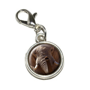 Graphics and More Africa African Elephant Antiqued Bracelet Pendant Zipper Pull Charm with Lobster Clasp