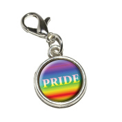 Graphics and More Rainbow Spectrum Pride Gay Lesbian Antiqued Bracelet Pendant Zipper Pull Charm with Lobster Clasp