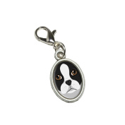 Graphics and More Boston Terrier Dog Pet Antiqued Bracelet Pendant Zipper Pull Oval Charm with Lobster Clasp