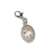 Graphics and More French Bulldog - Pet Dog Antiqued Bracelet Pendant Zipper Pull Oval Charm with Lobster Clasp