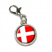 Graphics and More Denmark Danish Flag Antiqued Bracelet Pendant Zipper Pull Charm with Lobster Clasp