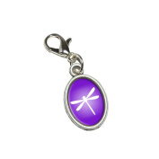 Graphics and More Purple Dragonfly Antiqued Bracelet Pendant Zipper Pull Oval Charm with Lobster Clasp