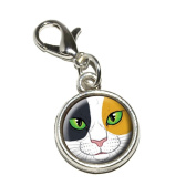 Graphics and More Calico Cat Face Pet Kitty Antiqued Bracelet Pendant Zipper Pull Charm with Lobster Clasp