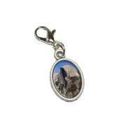 Graphics and More Half Dome - Yosemite National Park Antiqued Bracelet Pendant Zipper Pull Oval Charm with Lobster Clasp