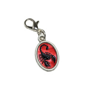 Graphics and More Scorpion on Red - Bug Insect Venom Poisonous Antiqued Bracelet Pendant Zipper Pull Oval Charm with Lobster Clasp