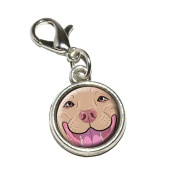 Graphics and More Blue Fawn Pit Bull Face Pitbull Dog Pet Antiqued Bracelet Pendant Zipper Pull Charm with Lobster Clasp